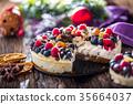 Cheescake with fresh fruit berries strawberries. 35664037