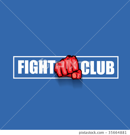 fight club vector logo with red man fist isolated 35664881