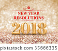 New year resolution 2018  on gold sparkle 35666335