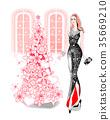 여성, 크리스마스, 인물 35669210