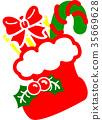크리스마스 부츠 빨갛 녹색 히 이라기 선물 사탕 35669628