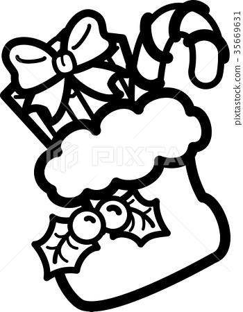 크리스마스 부츠 흑백 선화 색칠 히 이라기 선물 사탕 스톡