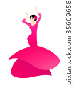 Illustration of a woman dancing flamenco 35669658