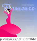 Design template with woman dancing flamenco 35669661