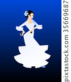 Illustration of a woman dancing flamenco 35669687