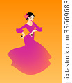 Illustration of a woman dancing flamenco 35669688