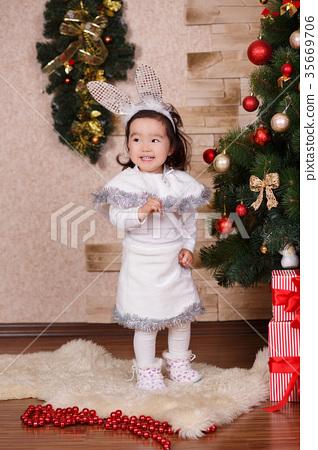 Asian little cute girl wearing pink casual dress 35669706