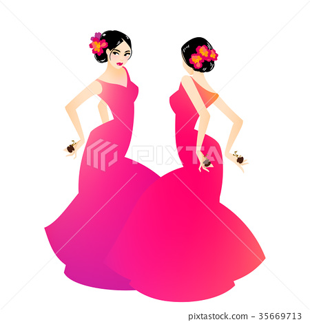 Illustration of a woman dancing flamenco 35669713