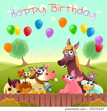Happy Birthday Card With Cute Farm Animals Stock Illustration