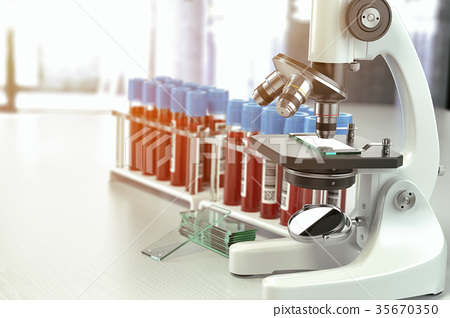 Microscope medical test tubes with blood samples 35670350