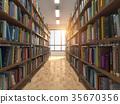 Library stacks of books and bookshelf. 35670356