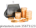 Purse with golden coins around, 3D rendering 35673123