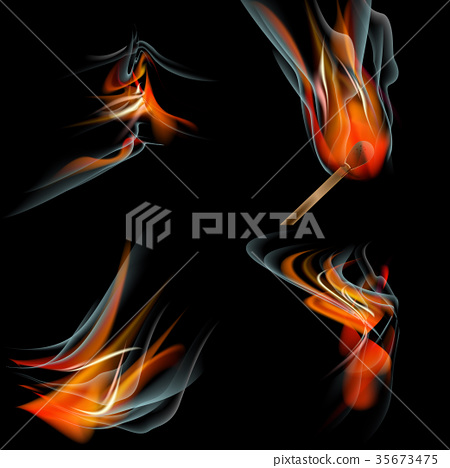 Collection of fires isolated on black background. 35673475