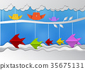 illustration of nature Birds and fish with sky 35675131