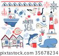 Vector doodle illustration. North sea 35678234