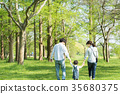 Parent and child playing in the park 35680375