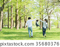 Parent and child playing in the park 35680376