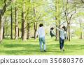 พ่อแม่และเด็กเล่นในสวนสาธารณะ 35680376
