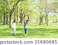 Parent and child playing in the park 35680685