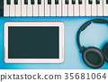 Empty Tablet screen for Music Concept  35681064