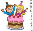 Cake and two kids celebrating image 1 35685923