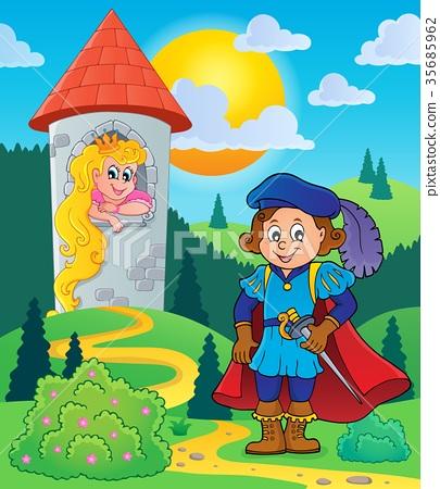 Prince near tower with princess 35685962