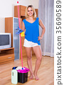 woman with mop and bucket 35690589