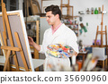 Artist painting on canvas 35690960