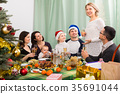 Happy family with children celebrates Christmas 35691044