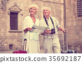 couple, suitcases, sights 35692187