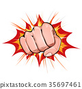 Power Fist On Blasting Background 35697461