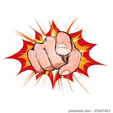 Pointing Finger On Explosion Background 35697463