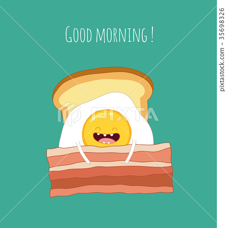 Funny breakfast set. Comic characters. Vector 35698326
