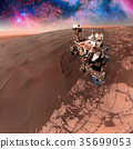 Curiosity rover exploring the surface of Mars. 35699053