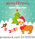 Holiday greeting card with cute corgi dog. 35700598