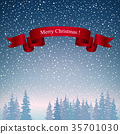 Merry Christmas Landscape in Dark Blue Shades 35701030
