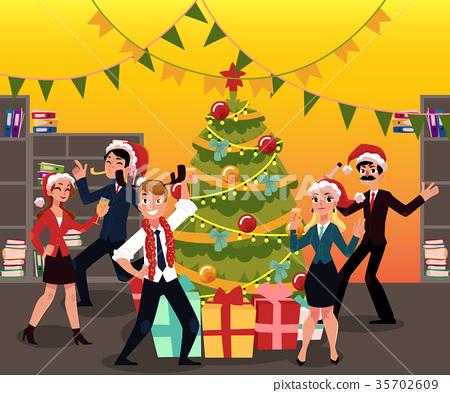 Happy people having corporate Xmas party 35702609