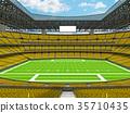 Modern American football Stadium with yellow seats 35710435