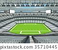 Modern American football Stadium with white seats 35710445