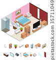 Interior Hotel Room Isometric View. Vector 35711049