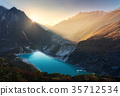 Mountain valley and lake with turquoise water 35712534