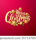 Merry Christmas Calligraphic Inscription Decorated 35714769