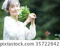嗅到花的气味的资深妇女 35722642