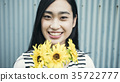 A woman with flowers 35722777