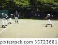 练习少年棒球投球的孩子们 35723681