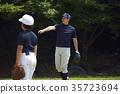 练习少年棒球投球的孩子们 35723694