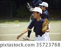 男孩棒球运动员实践的投球画象 35723768