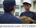 男孩棒球運動員實踐的投球畫象 35723884