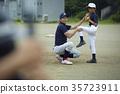 男孩棒球運動員實踐的投球畫象 35723911