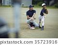 男孩棒球運動員實踐的投球畫象 35723916